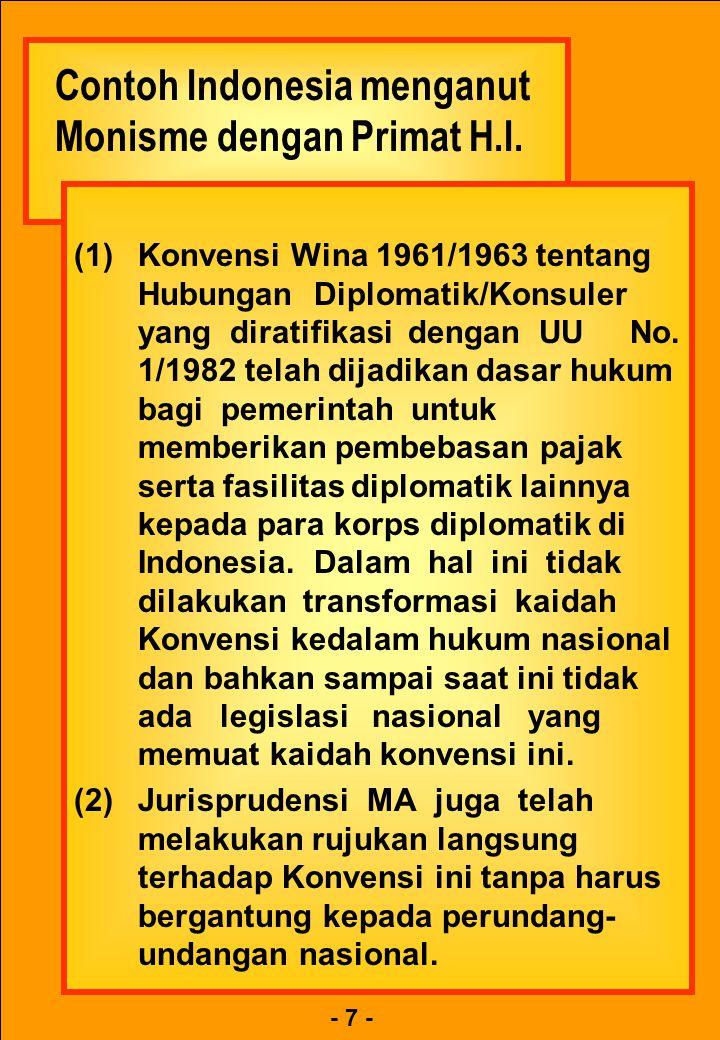 - 7 - Contoh Indonesia menganut Monisme dengan Primat H.I. Contoh Indonesia menganut Monisme dengan Primat H.I. (1)Konvensi Wina 1961/1963 tentang Hub