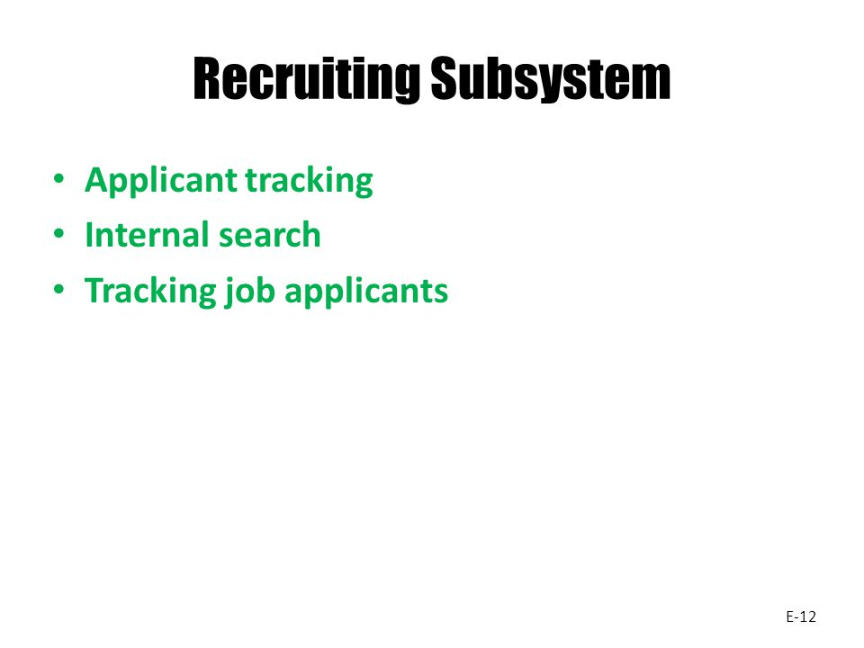 Recruiting Subsystem Applicant tracking Internal search Tracking job applicants E-12