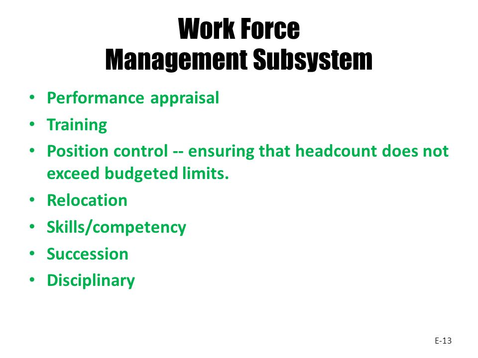 Work Force Management Subsystem Performance appraisal Training Position control -- ensuring that headcount does not exceed budgeted limits. Relocation