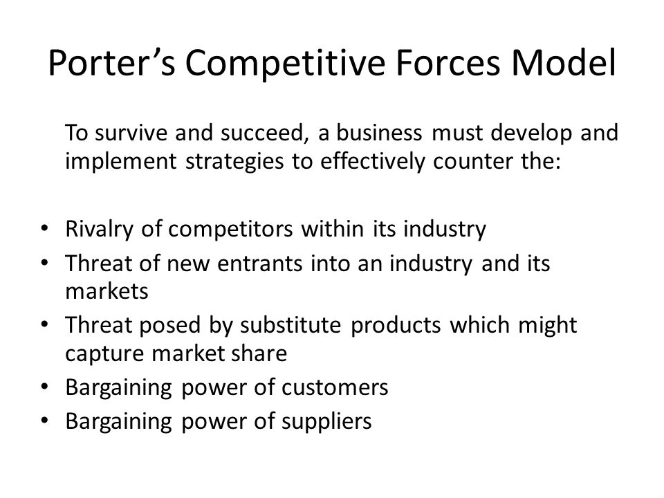 Porter's Competitive Forces Model To survive and succeed, a business must develop and implement strategies to effectively counter the: Rivalry of comp
