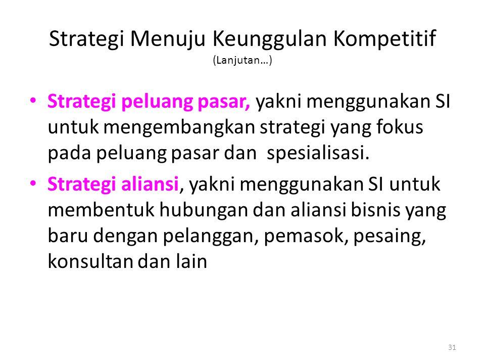 31 Strategi Menuju Keunggulan Kompetitif (Lanjutan…) Strategi peluang pasar, yakni menggunakan SI untuk mengembangkan strategi yang fokus pada peluang