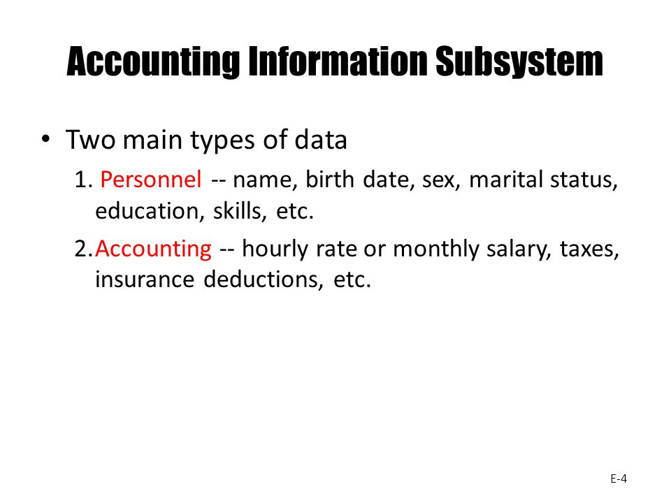 Accounting Information Subsystem Two main types of data 1. Personnel -- name, birth date, sex, marital status, education, skills, etc. 2.Accounting --