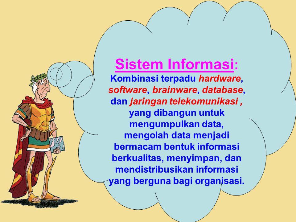 20 Sistem Informasi : Kombinasi terpadu hardware, software, brainware, database, dan jaringan telekomunikasi, yang dibangun untuk mengumpulkan data, m