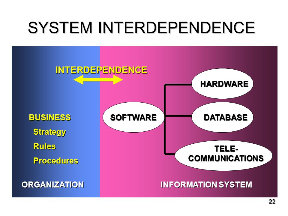 22 SYSTEM INTERDEPENDENCE BUSINESS Strategy Strategy Rules Rules Procedures Procedures ORGANIZATION INFORMATION SYSTEM HARDWARE SOFTWAREDATABASE TELE-