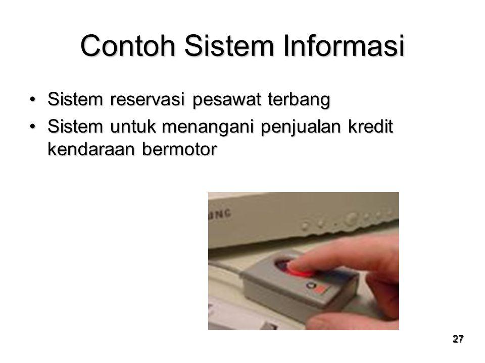 27 Contoh Sistem Informasi Sistem reservasi pesawat terbangSistem reservasi pesawat terbang Sistem untuk menangani penjualan kredit kendaraan bermotor
