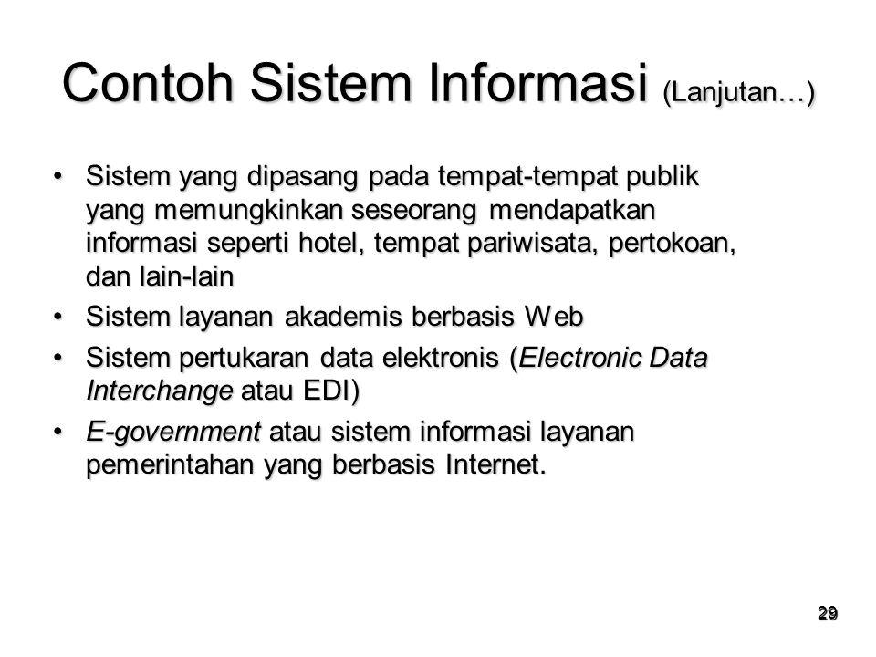29 Contoh Sistem Informasi (Lanjutan…) Sistem yang dipasang pada tempat-tempat publik yang memungkinkan seseorang mendapatkan informasi seperti hotel,