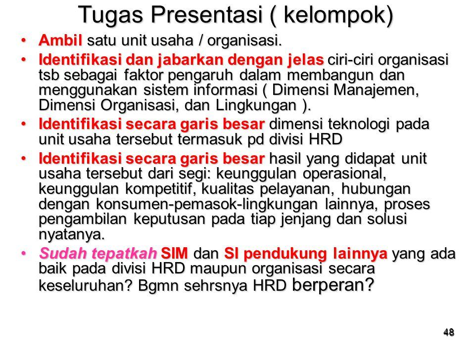 48 Tugas Presentasi ( kelompok) Ambil satu unit usaha / organisasi.Ambil satu unit usaha / organisasi. Identifikasi dan jabarkan dengan jelas ciri-cir