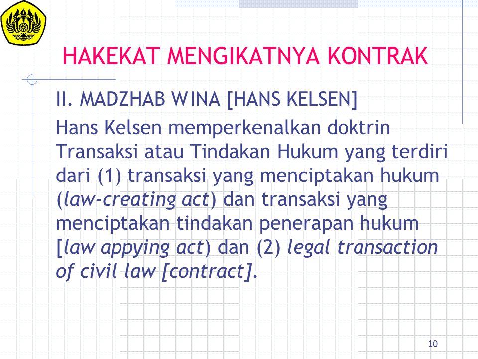 10 HAKEKAT MENGIKATNYA KONTRAK II. MADZHAB WINA [HANS KELSEN] Hans Kelsen memperkenalkan doktrin Transaksi atau Tindakan Hukum yang terdiri dari (1) t