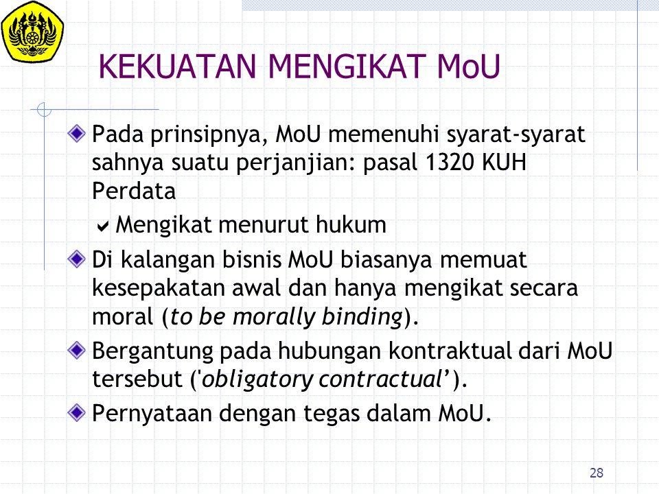 28 KEKUATAN MENGIKAT MoU Pada prinsipnya, MoU memenuhi syarat-syarat sahnya suatu perjanjian: pasal 1320 KUH Perdata  Mengikat menurut hukum Di kalan