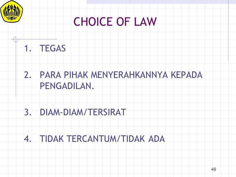 49 CHOICE OF LAW 1.TEGAS 2.PARA PIHAK MENYERAHKANNYA KEPADA PENGADILAN. 3.DIAM-DIAM/TERSIRAT 4.TIDAK TERCANTUM/TIDAK ADA