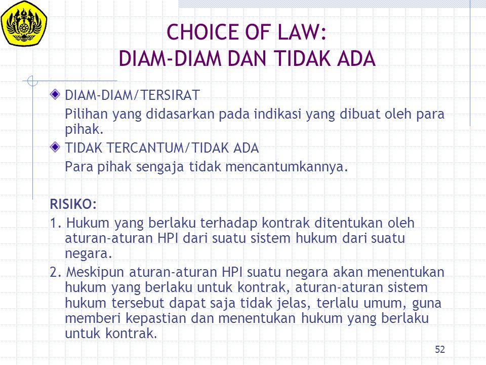 52 CHOICE OF LAW: DIAM-DIAM DAN TIDAK ADA DIAM-DIAM/TERSIRAT Pilihan yang didasarkan pada indikasi yang dibuat oleh para pihak. TIDAK TERCANTUM/TIDAK