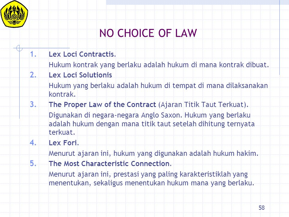 58 NO CHOICE OF LAW 1.Lex Loci Contractis.