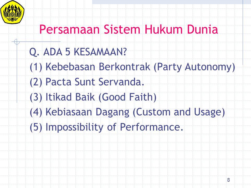 8 Persamaan Sistem Hukum Dunia Q. ADA 5 KESAMAAN? (1) Kebebasan Berkontrak (Party Autonomy) (2) Pacta Sunt Servanda. (3) Itikad Baik (Good Faith) (4)