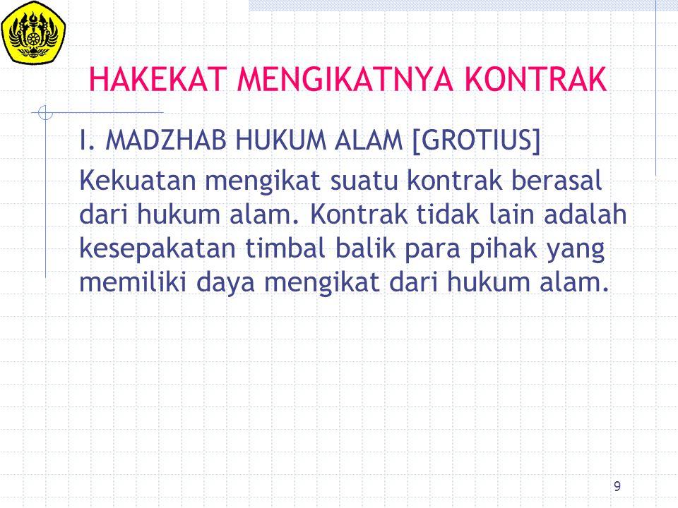 9 HAKEKAT MENGIKATNYA KONTRAK I. MADZHAB HUKUM ALAM [GROTIUS] Kekuatan mengikat suatu kontrak berasal dari hukum alam. Kontrak tidak lain adalah kesep