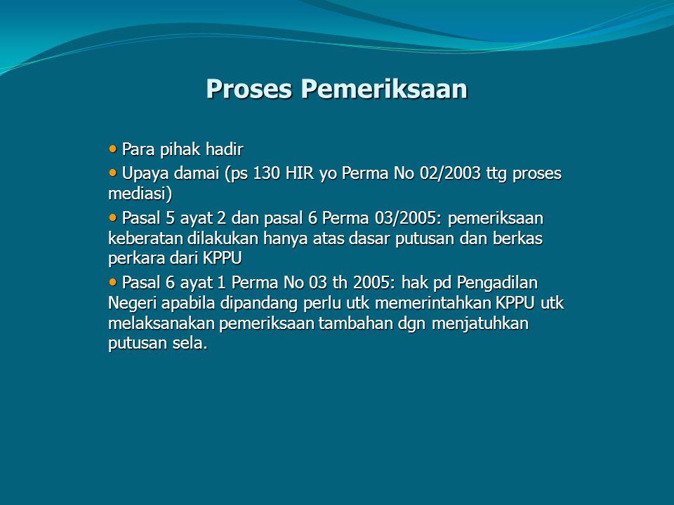 Proses Pemeriksaan Para pihak hadir Para pihak hadir Upaya damai (ps 130 HIR yo Perma No 02/2003 ttg proses mediasi) Upaya damai (ps 130 HIR yo Perma
