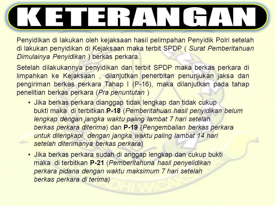 Penyidikan di lakukan oleh kejaksaan hasil pelimpahan Penyidik Polri setelah di lakukan penyidikan di Kejaksaan maka terbit SPDP ( Surat Pemberitahuan