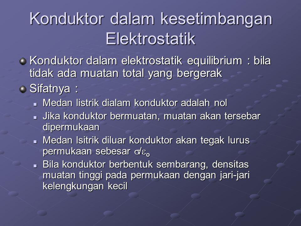 Konduktor dalam kesetimbangan Elektrostatik Konduktor dalam elektrostatik equilibrium : bila tidak ada muatan total yang bergerak Sifatnya : Medan listrik dialam konduktor adalah nol Medan listrik dialam konduktor adalah nol Jika konduktor bermuatan, muatan akan tersebar dipermukaan Jika konduktor bermuatan, muatan akan tersebar dipermukaan Medan lsitrik diluar konduktor akan tegak lurus permukaan sebesar  /  o Medan lsitrik diluar konduktor akan tegak lurus permukaan sebesar  /  o Bila konduktor berbentuk sembarang, densitas muatan tinggi pada permukaan dengan jari-jari kelengkungan kecil Bila konduktor berbentuk sembarang, densitas muatan tinggi pada permukaan dengan jari-jari kelengkungan kecil