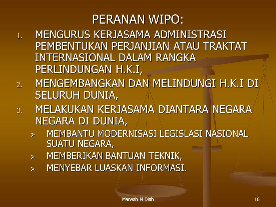 Marwah M Diah10 PERANAN WIPO: 1. MENGURUS KERJASAMA ADMINISTRASI PEMBENTUKAN PERJANJIAN ATAU TRAKTAT INTERNASIONAL DALAM RANGKA PERLINDUNGAN H.K.I, 2.