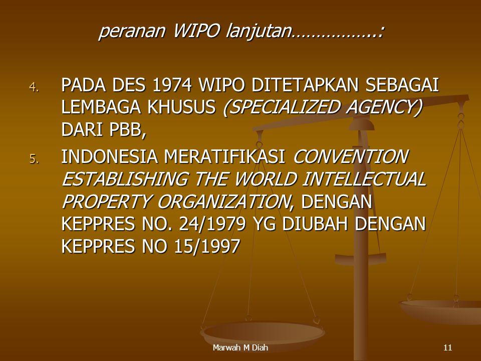 Marwah M Diah11 peranan WIPO lanjutan……………..: 4. PADA DES 1974 WIPO DITETAPKAN SEBAGAI LEMBAGA KHUSUS (SPECIALIZED AGENCY) DARI PBB, 5. INDONESIA MERA