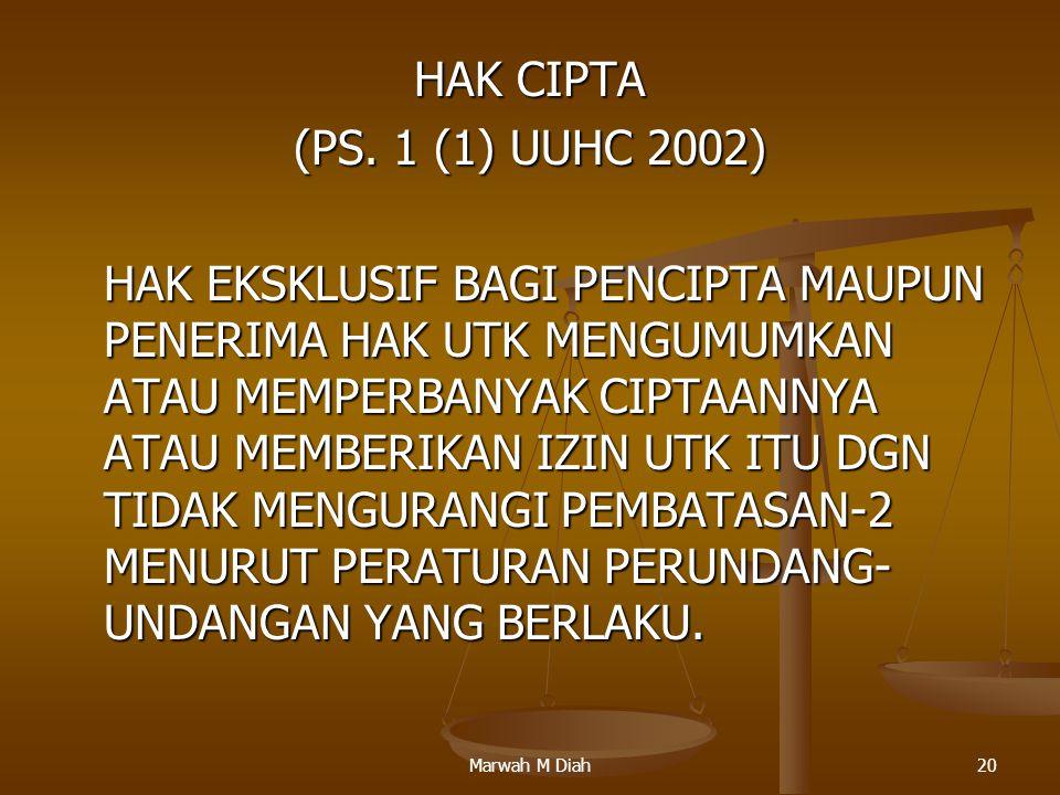 Marwah M Diah20 HAK CIPTA (PS. 1 (1) UUHC 2002) HAK EKSKLUSIF BAGI PENCIPTA MAUPUN PENERIMA HAK UTK MENGUMUMKAN ATAU MEMPERBANYAK CIPTAANNYA ATAU MEMB