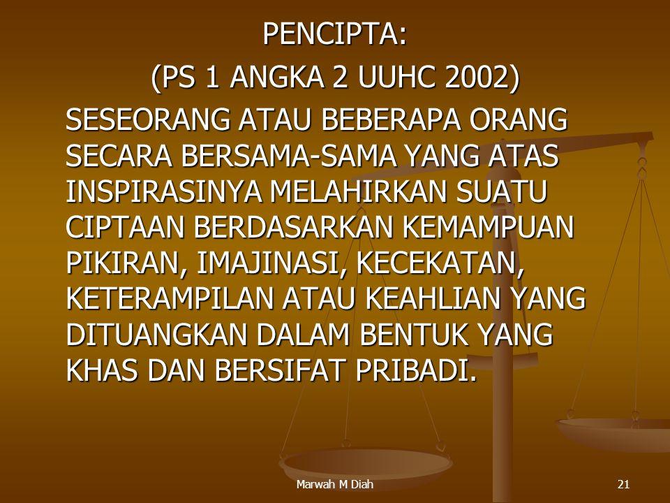 Marwah M Diah21 PENCIPTA: (PS 1 ANGKA 2 UUHC 2002) SESEORANG ATAU BEBERAPA ORANG SECARA BERSAMA-SAMA YANG ATAS INSPIRASINYA MELAHIRKAN SUATU CIPTAAN B