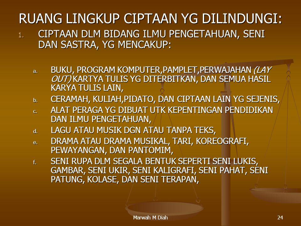 Marwah M Diah24 RUANG LINGKUP CIPTAAN YG DILINDUNGI: 1. CIPTAAN DLM BIDANG ILMU PENGETAHUAN, SENI DAN SASTRA, YG MENCAKUP: a. BUKU, PROGRAM KOMPUTER,P