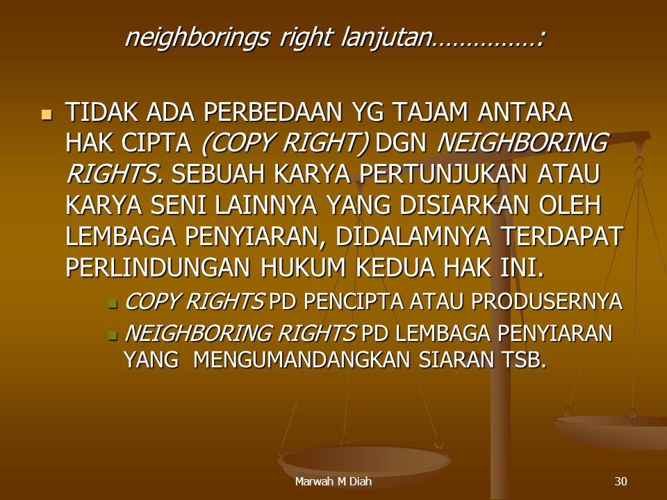 Marwah M Diah30 neighborings right lanjutan……………: TIDAK ADA PERBEDAAN YG TAJAM ANTARA HAK CIPTA (COPY RIGHT) DGN NEIGHBORING RIGHTS. SEBUAH KARYA PERT