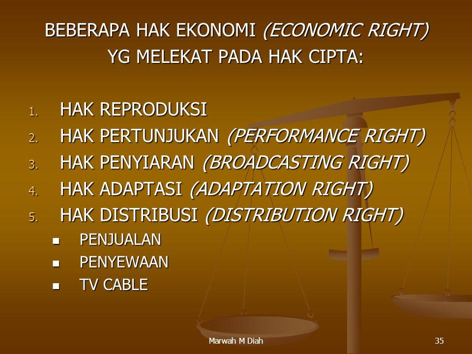 Marwah M Diah35 BEBERAPA HAK EKONOMI (ECONOMIC RIGHT) YG MELEKAT PADA HAK CIPTA: 1. HAK REPRODUKSI 2. HAK PERTUNJUKAN (PERFORMANCE RIGHT) 3. HAK PENYI