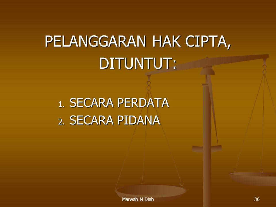 Marwah M Diah36 PELANGGARAN HAK CIPTA, DITUNTUT: 1. SECARA PERDATA 2. SECARA PIDANA