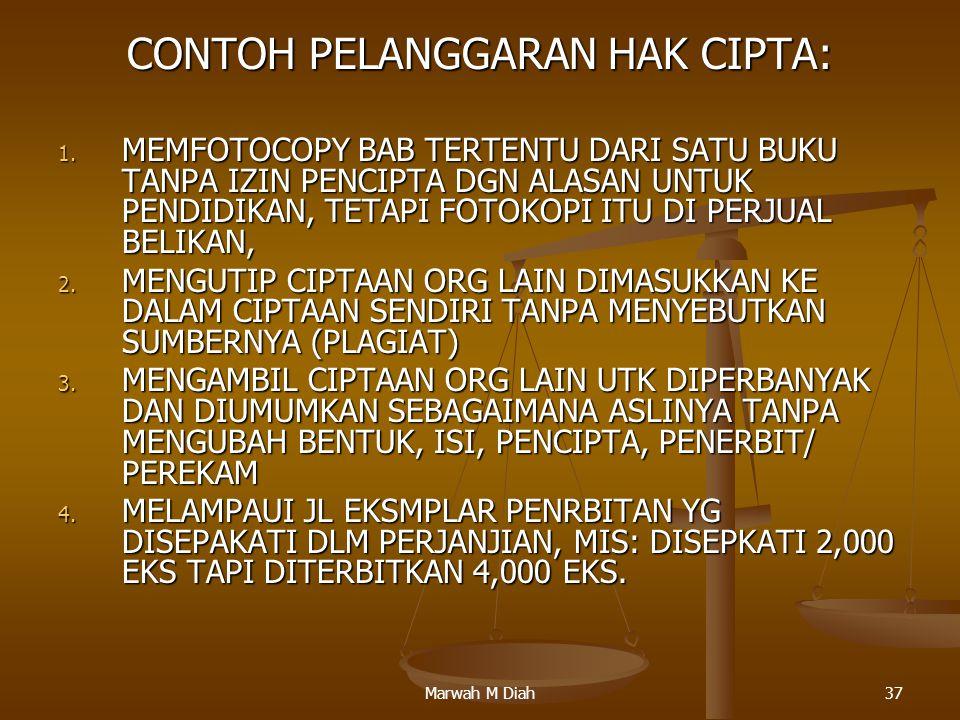 Marwah M Diah37 CONTOH PELANGGARAN HAK CIPTA: 1. MEMFOTOCOPY BAB TERTENTU DARI SATU BUKU TANPA IZIN PENCIPTA DGN ALASAN UNTUK PENDIDIKAN, TETAPI FOTOK