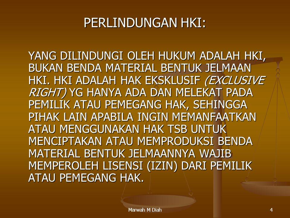 Marwah M Diah4 PERLINDUNGAN HKI: YANG DILINDUNGI OLEH HUKUM ADALAH HKI, BUKAN BENDA MATERIAL BENTUK JELMAAN HKI. HKI ADALAH HAK EKSKLUSIF (EXCLUSIVE R