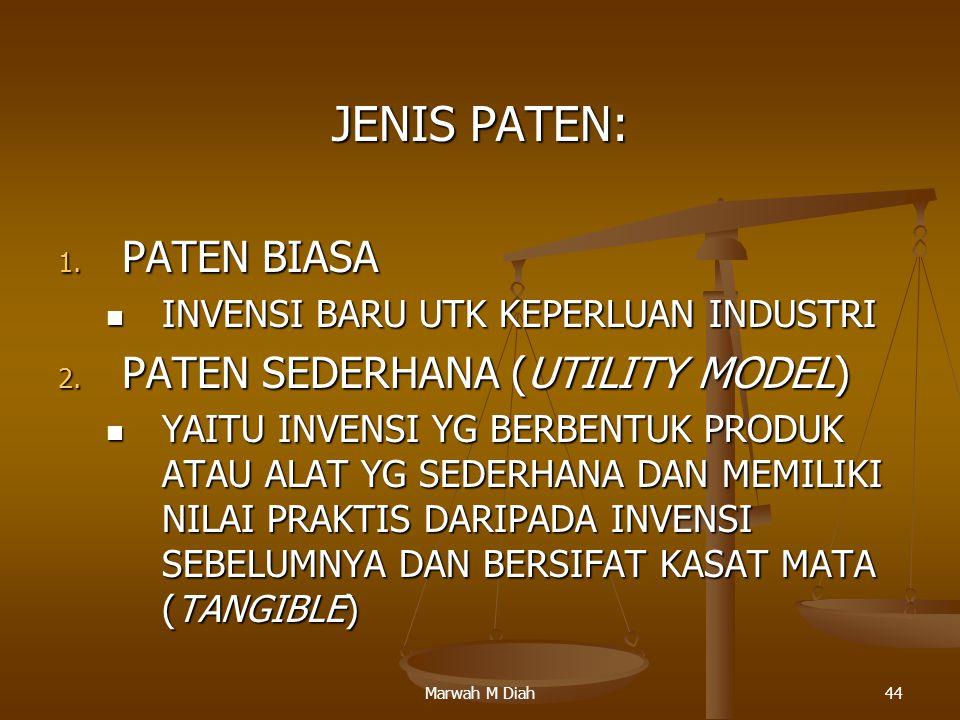 Marwah M Diah44 JENIS PATEN: 1. PATEN BIASA INVENSI BARU UTK KEPERLUAN INDUSTRI INVENSI BARU UTK KEPERLUAN INDUSTRI 2. PATEN SEDERHANA (UTILITY MODEL)