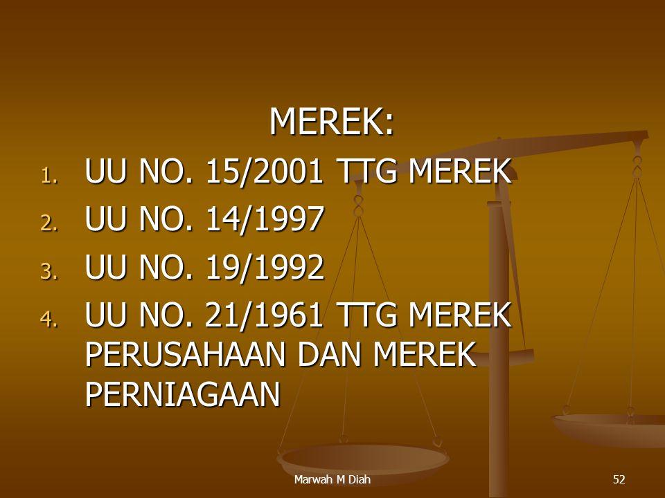 Marwah M Diah52 MEREK: 1. UU NO. 15/2001 TTG MEREK 2. UU NO. 14/1997 3. UU NO. 19/1992 4. UU NO. 21/1961 TTG MEREK PERUSAHAAN DAN MEREK PERNIAGAAN