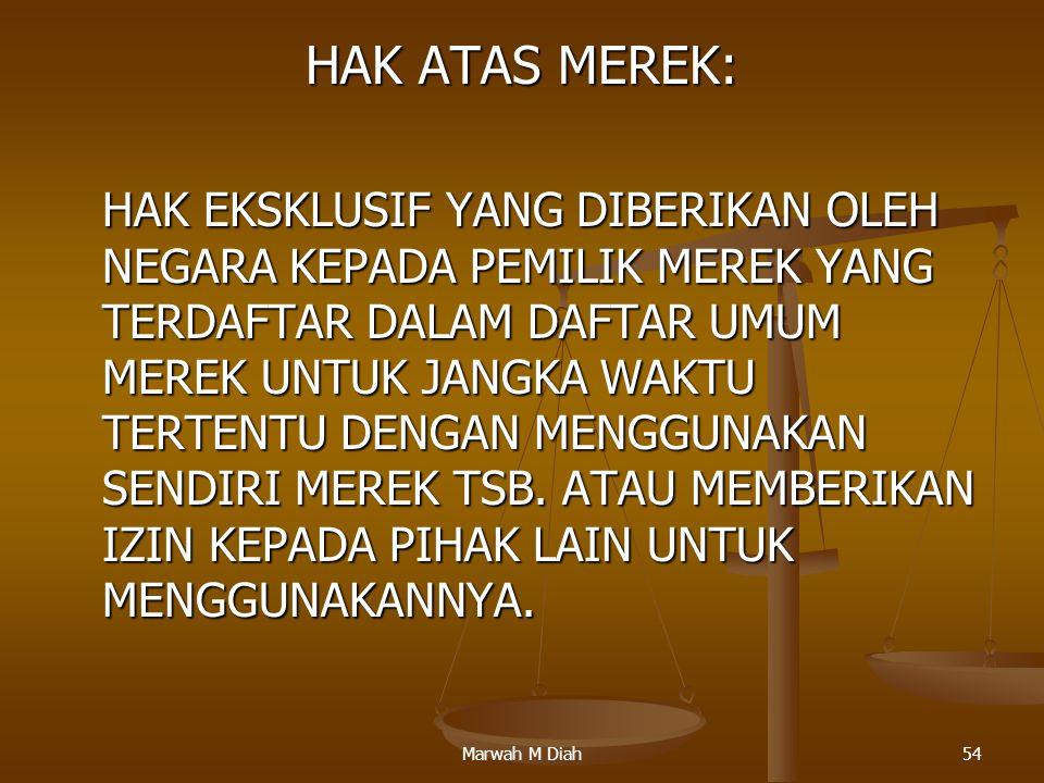 Marwah M Diah54 HAK ATAS MEREK: HAK EKSKLUSIF YANG DIBERIKAN OLEH NEGARA KEPADA PEMILIK MEREK YANG TERDAFTAR DALAM DAFTAR UMUM MEREK UNTUK JANGKA WAKT