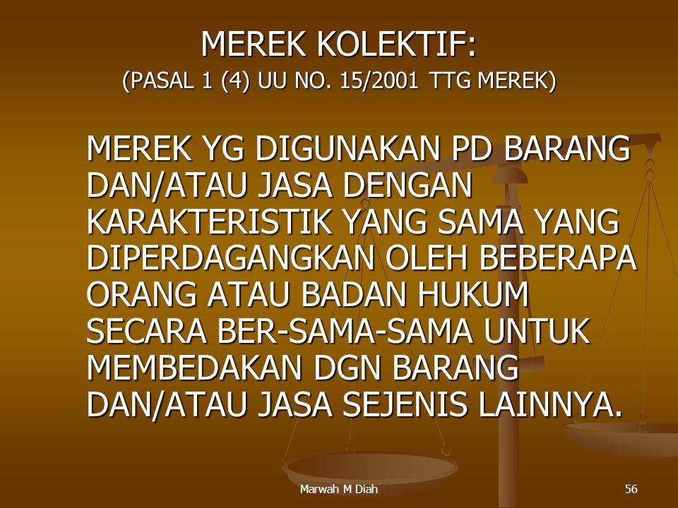 Marwah M Diah56 MEREK KOLEKTIF: (PASAL 1 (4) UU NO. 15/2001 TTG MEREK) MEREK YG DIGUNAKAN PD BARANG DAN/ATAU JASA DENGAN KARAKTERISTIK YANG SAMA YANG