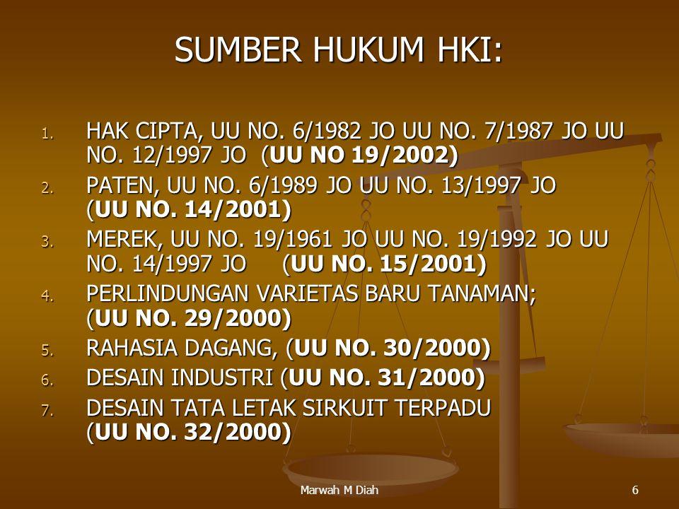 Marwah M Diah6 SUMBER HUKUM HKI: 1. HAK CIPTA, UU NO. 6/1982 JO UU NO. 7/1987 JO UU NO. 12/1997 JO (UU NO 19/2002) 2. PATEN, UU NO. 6/1989 JO UU NO. 1