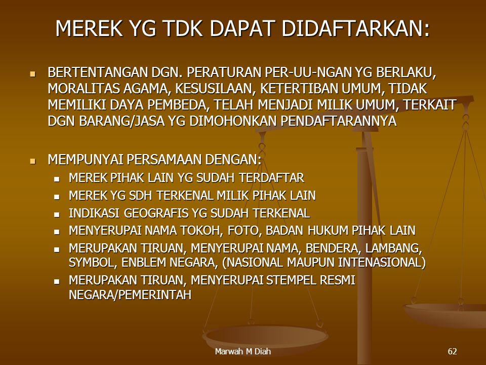 Marwah M Diah62 MEREK YG TDK DAPAT DIDAFTARKAN: BERTENTANGAN DGN. PERATURAN PER-UU-NGAN YG BERLAKU, MORALITAS AGAMA, KESUSILAAN, KETERTIBAN UMUM, TIDA