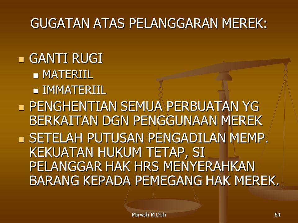 Marwah M Diah64 GUGATAN ATAS PELANGGARAN MEREK: GANTI RUGI GANTI RUGI MATERIIL MATERIIL IMMATERIIL IMMATERIIL PENGHENTIAN SEMUA PERBUATAN YG BERKAITAN