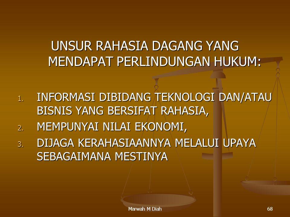 Marwah M Diah68 UNSUR RAHASIA DAGANG YANG MENDAPAT PERLINDUNGAN HUKUM: 1. INFORMASI DIBIDANG TEKNOLOGI DAN/ATAU BISNIS YANG BERSIFAT RAHASIA, 2. MEMPU