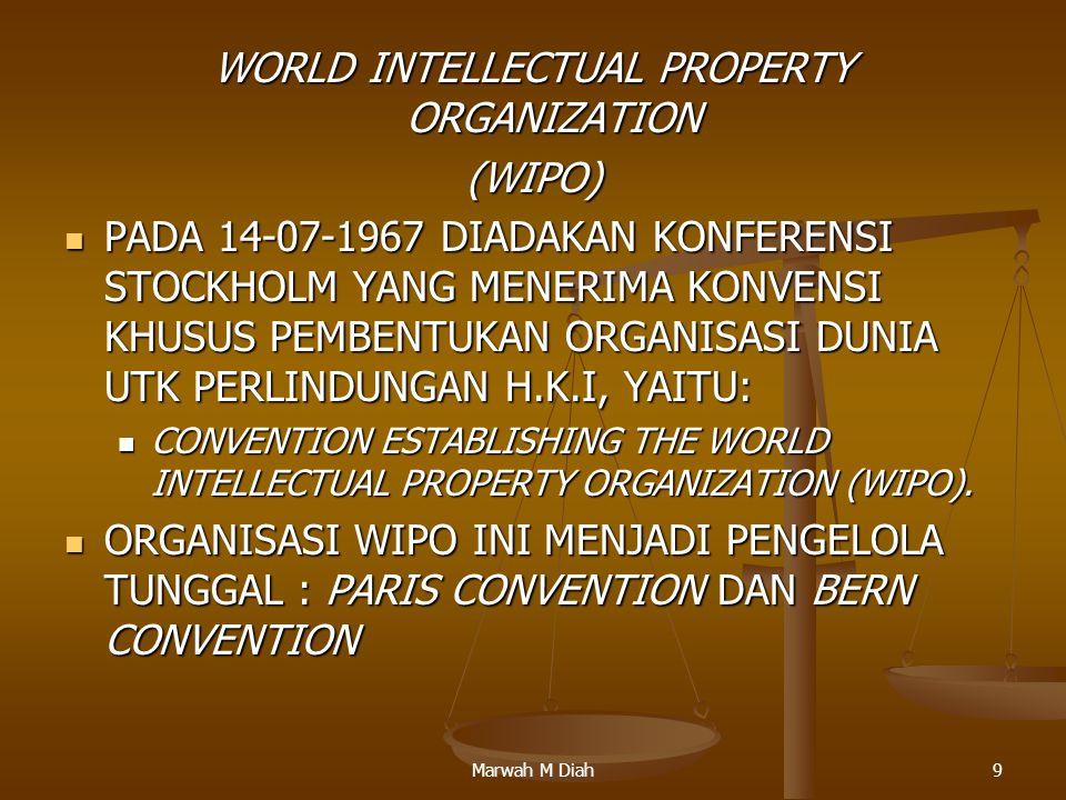 Marwah M Diah9 WORLD INTELLECTUAL PROPERTY ORGANIZATION (WIPO) PADA 14-07-1967 DIADAKAN KONFERENSI STOCKHOLM YANG MENERIMA KONVENSI KHUSUS PEMBENTUKAN