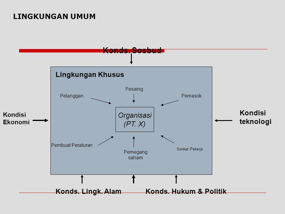 LINGKUNGAN UMUM  Lingkungan Umum (General Environtment) terdiri dari kondisi- kondisi latar belakang dalam lingkungan eksternal yang dapat berpengaru