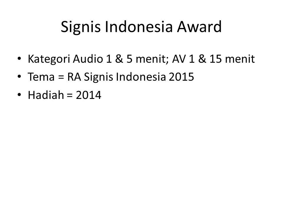 Signis Indonesia Award Kategori Audio 1 & 5 menit; AV 1 & 15 menit Tema = RA Signis Indonesia 2015 Hadiah = 2014