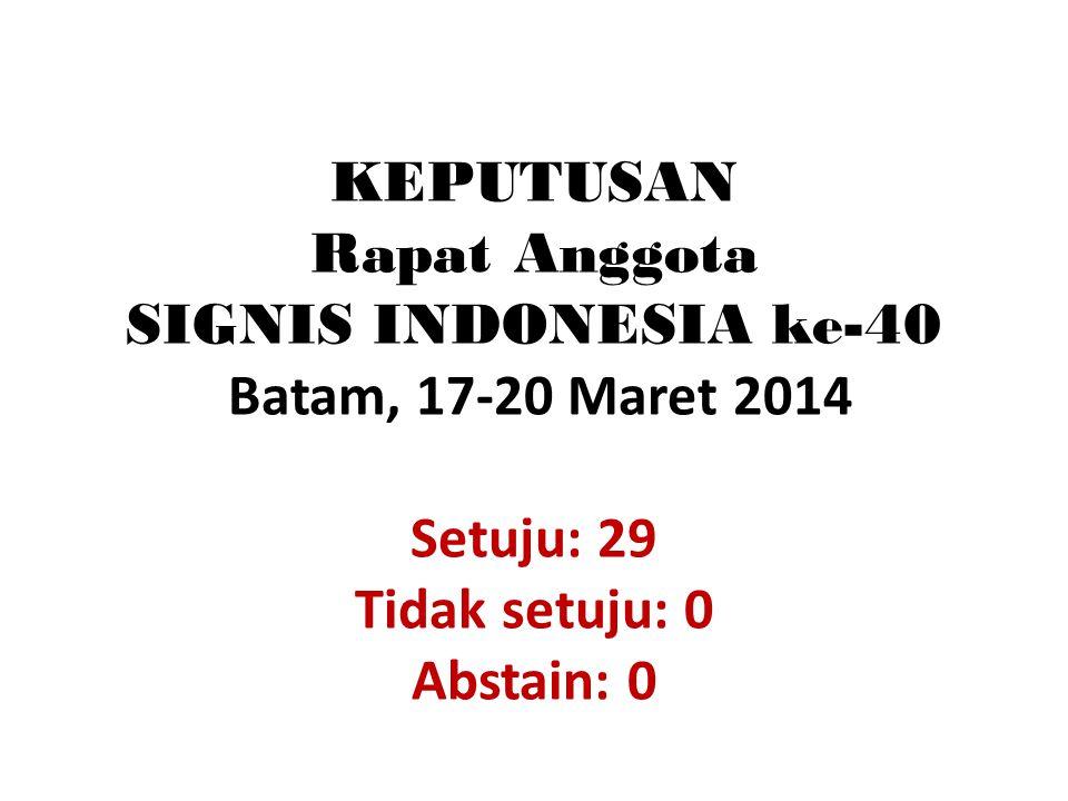 KEPUTUSAN Rapat Anggota SIGNIS INDONESIA ke-40 Batam, 17-20 Maret 2014 Setuju: 29 Tidak setuju: 0 Abstain: 0