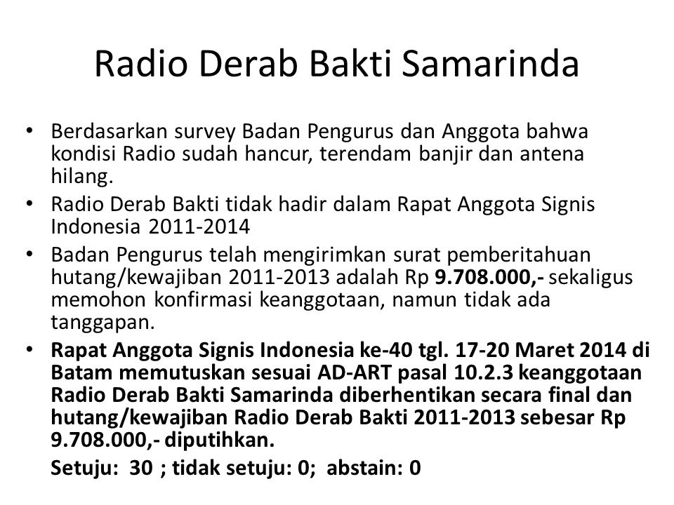 Radio Derab Bakti Samarinda Berdasarkan survey Badan Pengurus dan Anggota bahwa kondisi Radio sudah hancur, terendam banjir dan antena hilang. Radio D