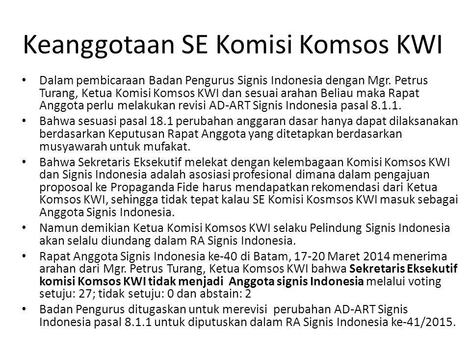Keanggotaan SE Komisi Komsos KWI Dalam pembicaraan Badan Pengurus Signis Indonesia dengan Mgr. Petrus Turang, Ketua Komisi Komsos KWI dan sesuai araha