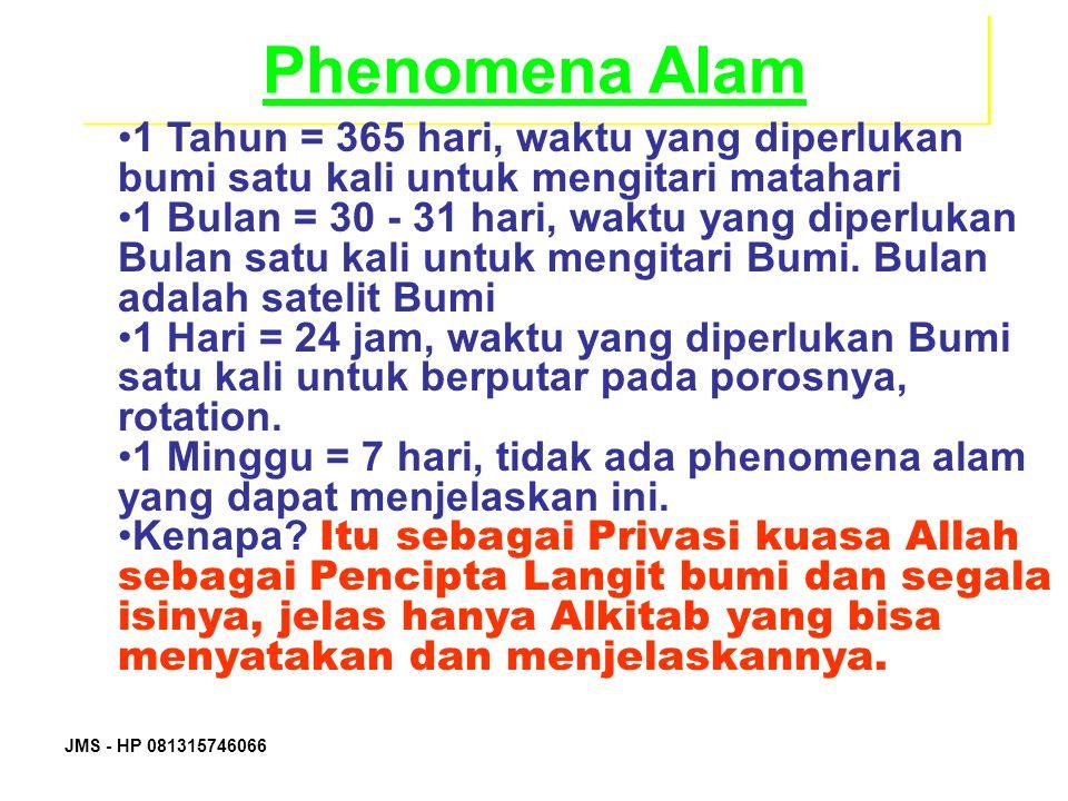 JMS - HP 081315746066 Phenomena Alam 1 Tahun = 365 hari, waktu yang diperlukan bumi satu kali untuk mengitari matahari 1 Bulan = 30 - 31 hari, waktu y