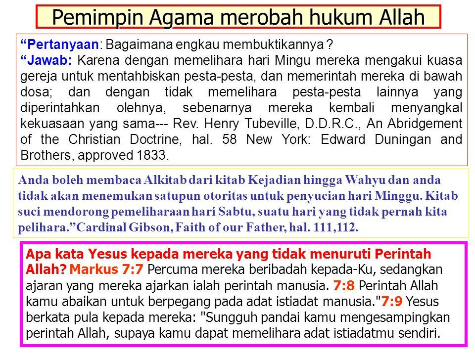 """JMS - HP 081315746066 Pemimpin Agama merobah hukum Allah """"Pertanyaan: Bagaimana engkau membuktikannya ? """"Jawab: Karena dengan memelihara hari Mingu me"""