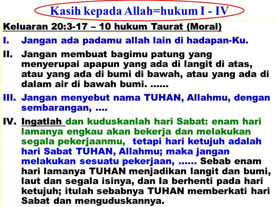 JMS - HP 081315746066 Keluaran 20:3-17 – 10 hukum Taurat (Moral) I.Jangan ada padamu allah lain di hadapan-Ku. II.Jangan membuat bagimu patung yang me