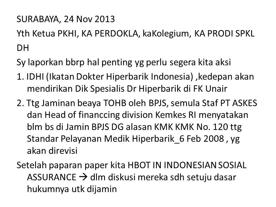 SURABAYA, 24 Nov 2013 Yth Ketua PKHI, KA PERDOKLA, kaKolegium, KA PRODI SPKL DH Sy laporkan bbrp hal penting yg perlu segera kita aksi 1. IDHI (Ikatan