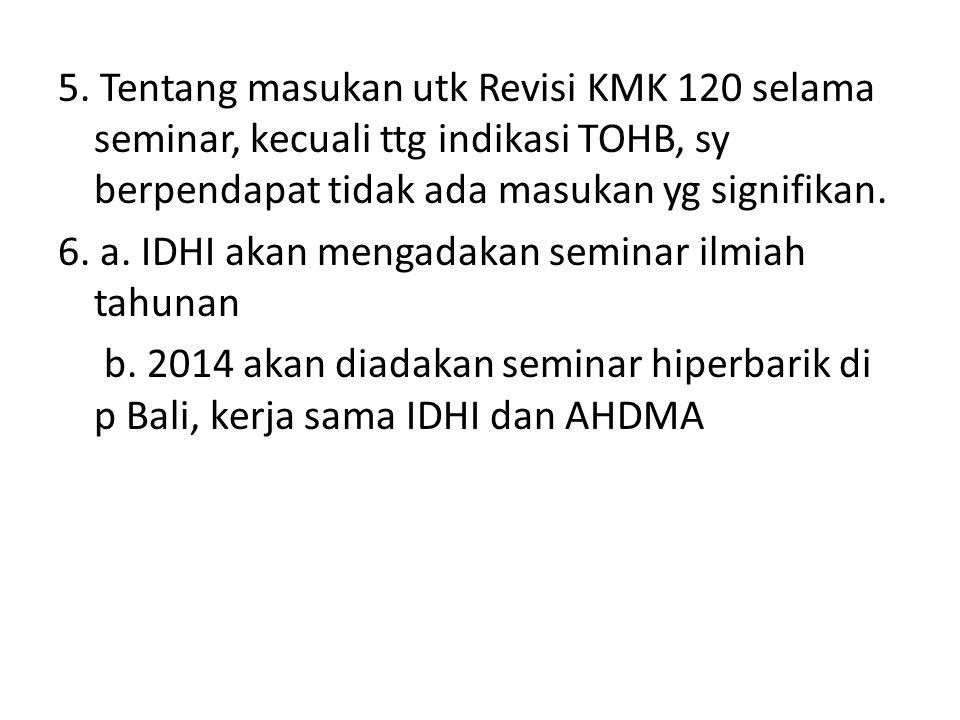5. Tentang masukan utk Revisi KMK 120 selama seminar, kecuali ttg indikasi TOHB, sy berpendapat tidak ada masukan yg signifikan. 6. a. IDHI akan menga